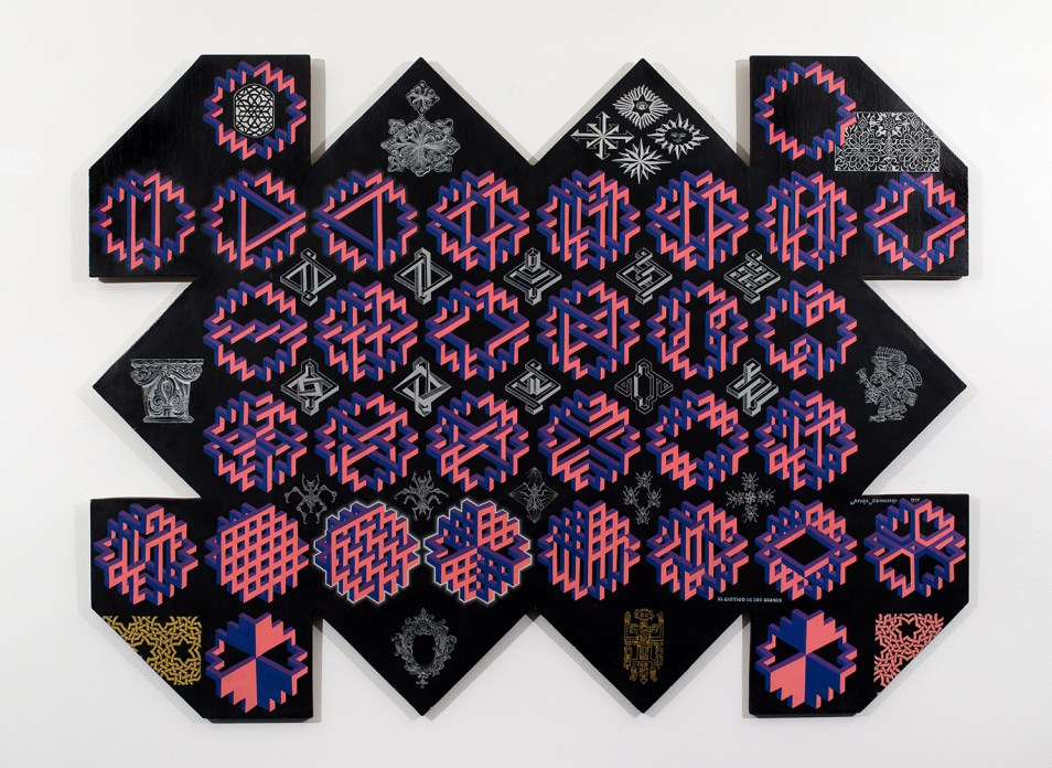A painting of pink and purple shapes on a panel of black wood that is irregularly shaped