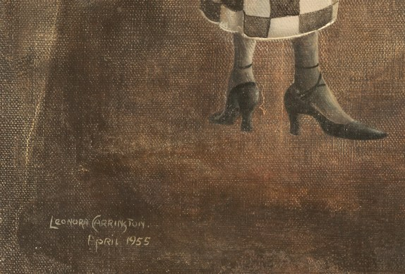 Detail of a painting by Leonora Carrington showing the date and signature underneath a woman's high heeled feet.