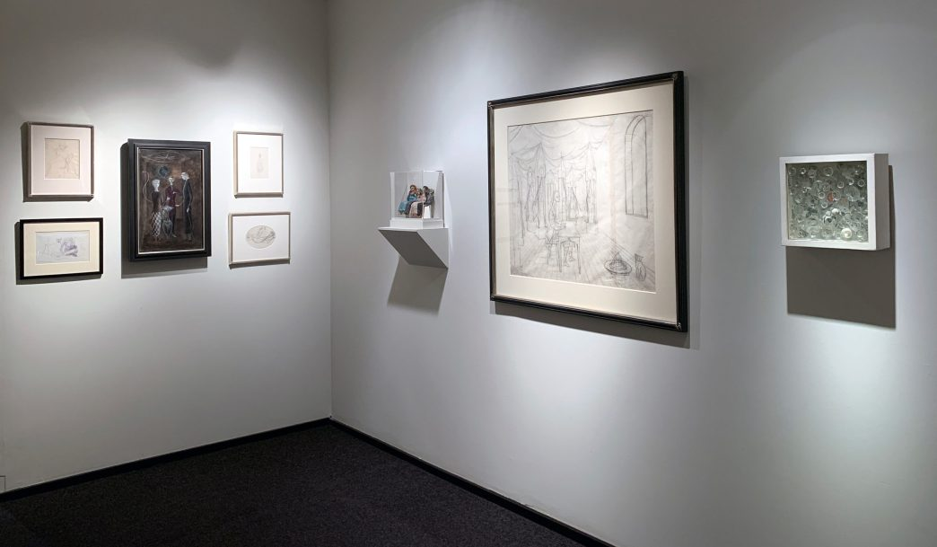Installation shot of the back gallery with works by Leonora Carrington and Remedios Varo
