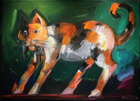 A painting of a black, white, and orange cat with a rodent in its mouth, against a green background
