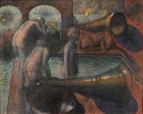 Three nude women bathe in an indoor pool, while a dog sleeps at the edge of the pool and two large objects shaped like horns are displayed in the foreground and the background..