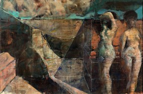 A painting of two nude female figures in an abstract landscape rendered in earth tones with a blue sky.