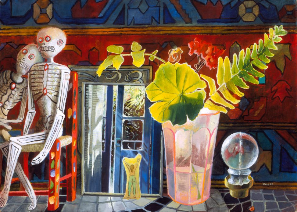 A colorful painting of a shelf with a pink glass and leaves, a photograph of a blue door, and two skeleton figures