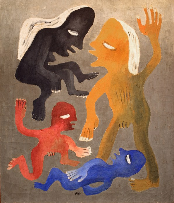 A semi-abstract painting of four figures, rendered in blue, red, yellow, and black
