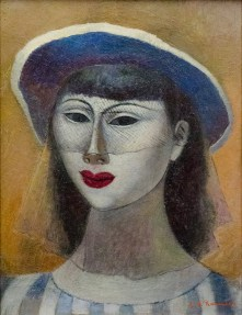 A portrait of a woman in a blue hat, painted in oil..