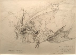 A surrealist pen and ink drawing of the face of a creature, the outline of a large feline, and a bird.