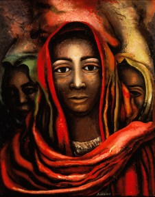 Painting of a woman with her head draped in a red shawl