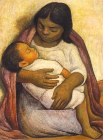 An oil painting of a peasant woman holding a sleeping child.