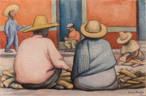 A watercolor of a Mexican peasant couple seated on the street in front of the sticks of wood they sell for firewood.