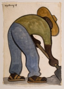 A watercolor of a Mexican peasant shoveling