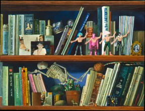 Painting of two shelves filled with books, photos, and toy figurines