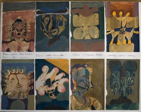 A grid of eight portraits of the artist Francisco Toledo's wife, painted in watercolor and gold leaf, bearing the Zapotec title of each portrait.