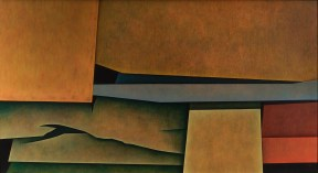 An abstract oil painting in which horizontal rectangular shapes overlap each other in an ambiguous space