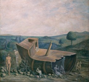 A painting depicting a shipwreck in a verdant landscape
