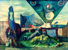 A surrealist painting which depicts various prominent artists in the Mexican Surrealist movement.