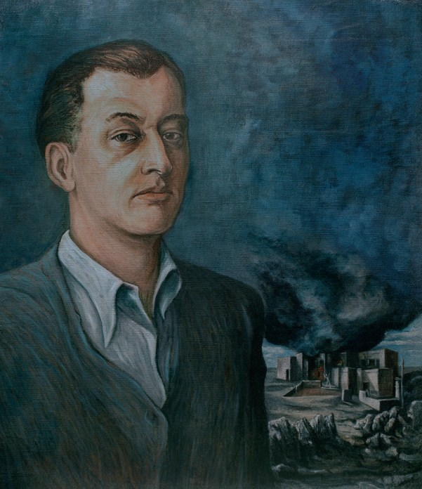 A painted portrait in blue tones of a man's head and shoulders, with a burning town in the distance behind him.