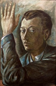A painted portrait of a man with his left hand raised beside his head