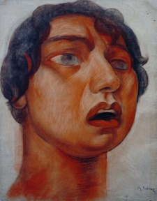 A watercolor study of a woman singing. This image was used in a later mural painting by Diego Rivera.