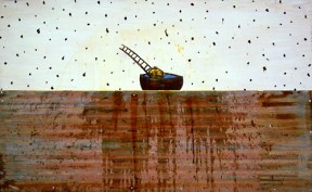 Mixed media artwork of a small head in a boat with a ladder extending updwards