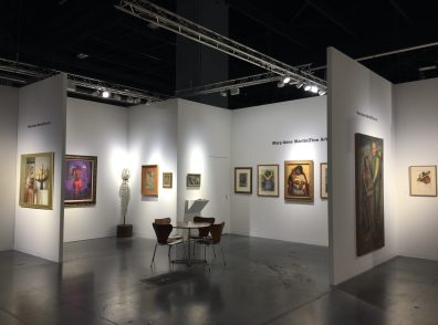 Installation shot of an art fair booth