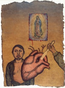A collaged self portrait by Nahum B. Zenil painted in the style of an ex voto.
