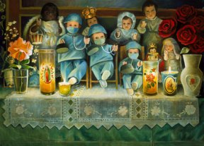 An altar with dolls dressed as doctors.