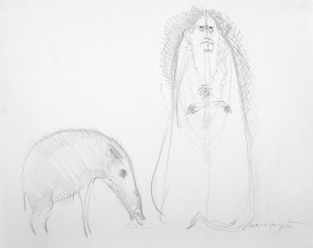 Drawing of a bearded and robed figure next to an anteater