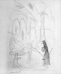 Surrealist drawing of a cloaked figure using a dowsing rod in an interior with arched doorways