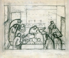 A loose sketch of many doctors surrounding and looking down on a table on which a man is being operated.