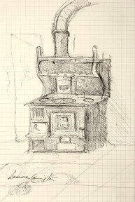 A sketch of an old-fashioned wood stove in a kitchen.