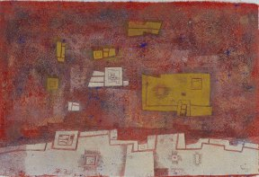 Textural, geometric abstract painting in red, white, and yellow