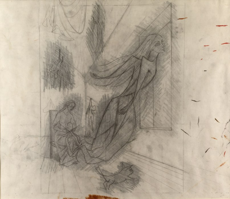 A pencil drawing of a seated woman knitting - a female figure is rising from her needles