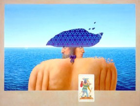 A sailor with two faces stands in front of the sea. The sailor wears a bright blue sailing hat.