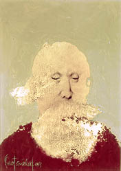A portrait of an old, bald man with a vague shape in front of his mouth