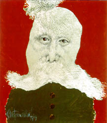 A portrait of an old man with a fur collar and no mouth.
