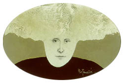 An oval-shaped painting of a man's head. The man has hair that extends out from his head like wings.