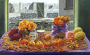 Painting of an offering of oranges, sugar skulls, and marigolds in front of a courtyard