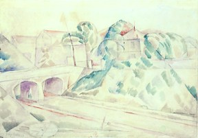 A cubist style watercolor of houses, trees, and a bridge