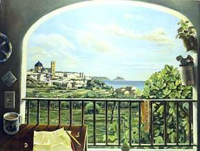 Painting of a balcony overlooking a whitewashed seaside village