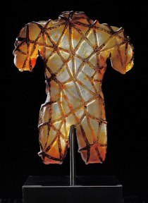 A cast glass torso bound with orange rope restraints