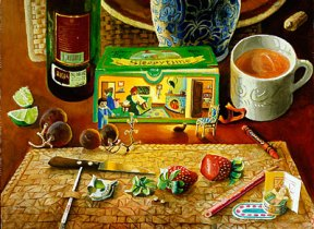 A painting of utensils and fruit in front of Sleepytime tea