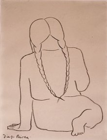 A sketch of a peasant girl with long braids, seen from the back.
