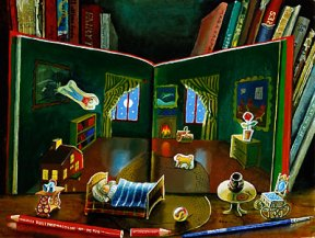 "A painting of the book ""Good Night Moon"" open against a bookshelf"