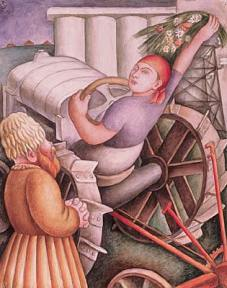A watercolor of a female tractor worker harvesting grain in the Soviet Union