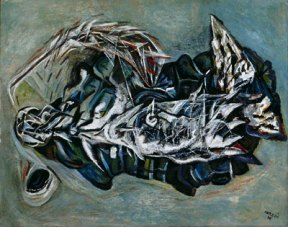 An oil painting depicting an abstract landscape rendered in black, blue and white.