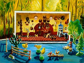 Painting of a miniature doll kitchen with toy chicks in front