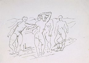 A loose pen and ink drawing of four nude men