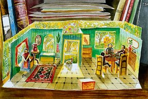 Painting of a pop up paper dollhouse in green and yellow hues, drenched in sunlight