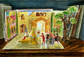 Painting of a pop up book of a medieval square with dolls
