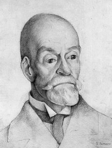Pencil portrait of a bald man with a thick mustache and beard